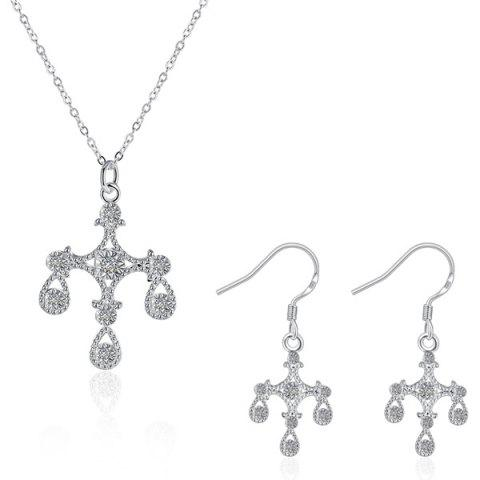 Affordable Crucifix Water Drop Jewelry Set SILVER