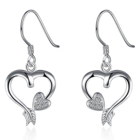 New Rhinestone Heart Jewelry Set - SILVER  Mobile
