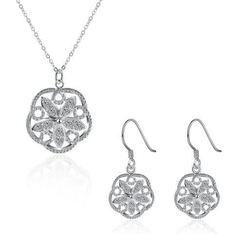 Trendy Rhinestone Flower Jewelry Set SILVER