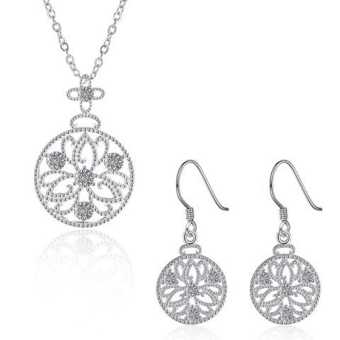 Buy Rhinestone Floral Jewelry Set SILVER