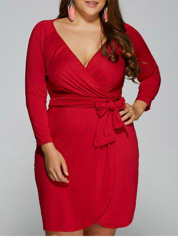 Plunging Neck Long Sleeve Wrap Plus Size Dress - Red - 2xl