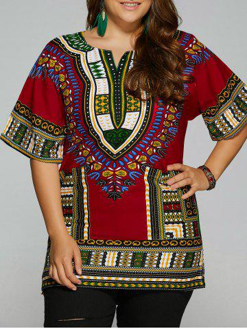 Store Ethnic Printed Plus Size Blouse
