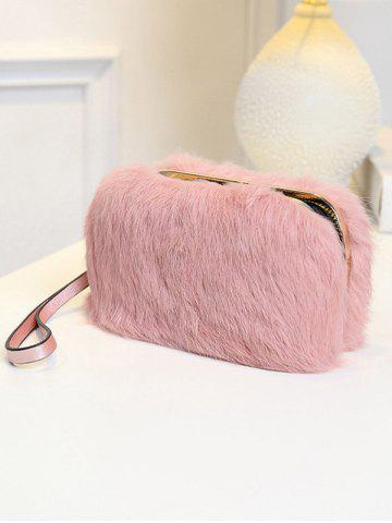 Affordable Furry Metal Trimmed Zip Around Evening Bag - GRAY  Mobile