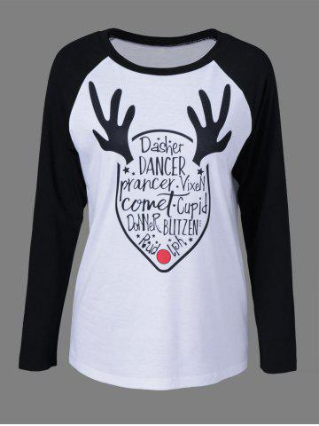 Shop Letter Print Raglan Sleeve T-Shirt - M WHITE AND BLACK Mobile
