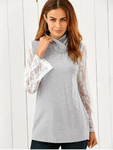 Cheap Lace Flare Sleeve Pullover