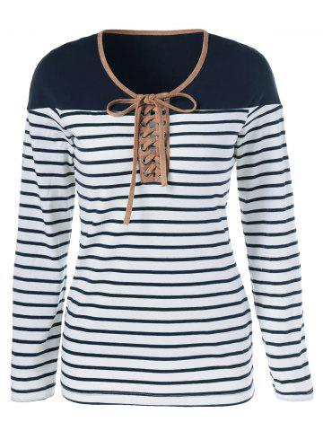 Discount Lace-Up Striped T-Shirt