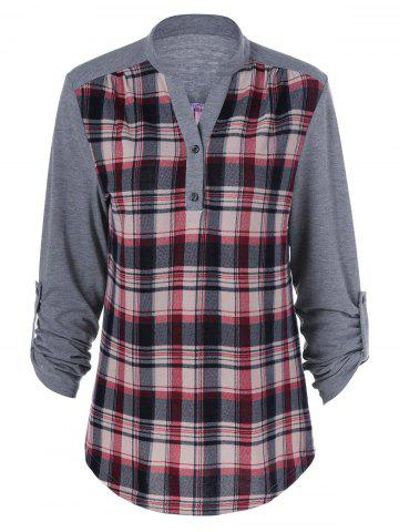Store Plaid Patchwork Adjustable Sleeve T-Shirt