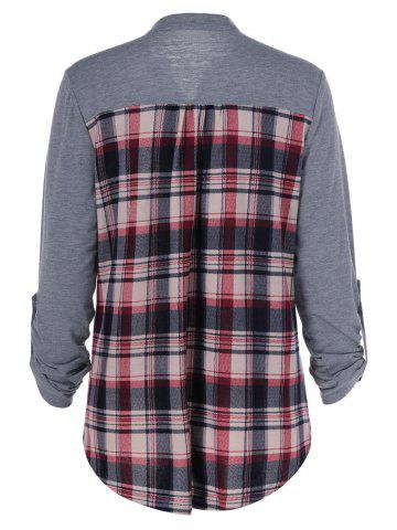 Buy Plaid Patchwork Adjustable Sleeve T-Shirt - XL CHECKED Mobile