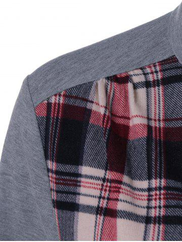 Latest Plaid Patchwork Adjustable Sleeve T-Shirt - L CHECKED Mobile