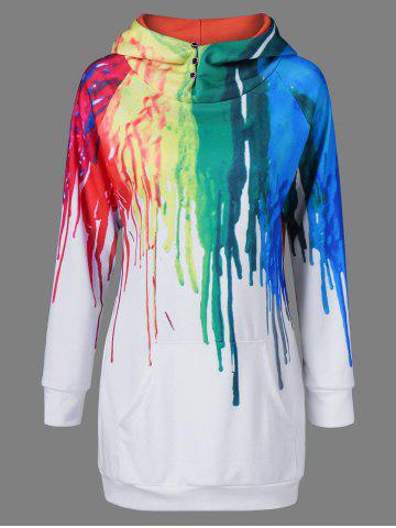 Discount Oil Paint Over Print Rainbow Hoodie WHITE M