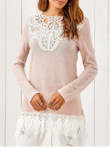 Outfits Lace Patchwork Pullover PINKBEIGE XL