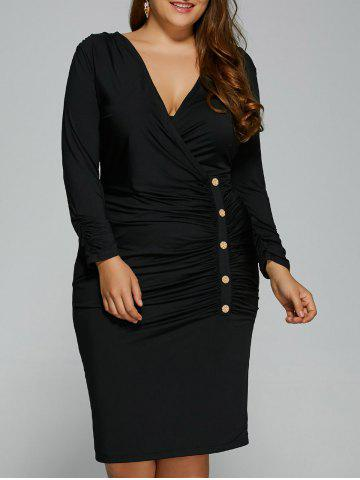Buy Plus Size Button V Neck Long Sleeved Surplice Ruched Dress BLACK XL