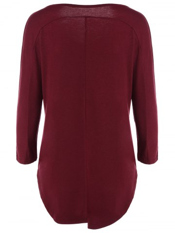 Chic V Neck Batwing Sleeve T-Shirt - L WINE RED Mobile