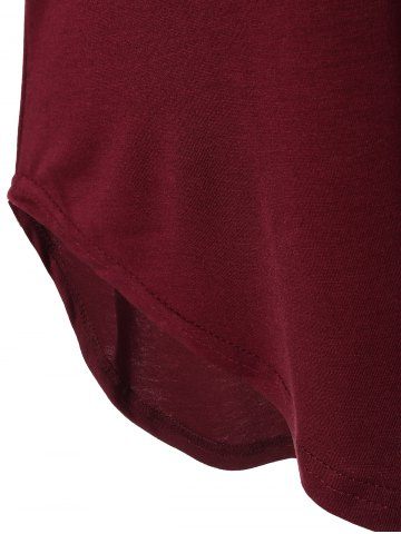 New V Neck Batwing Sleeve T-Shirt - L WINE RED Mobile