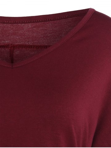 Affordable V Neck Batwing Sleeve T-Shirt - M WINE RED Mobile