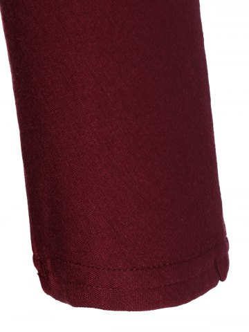 New V Neck Batwing Sleeve T-Shirt - M WINE RED Mobile