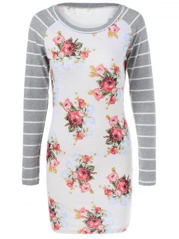 Chic Striped Sleeve Floral Dress
