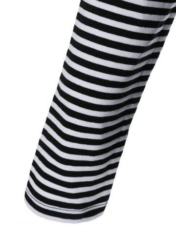 Affordable Cowl Neck Pinstriped T-Shirt - L STRIPE Mobile