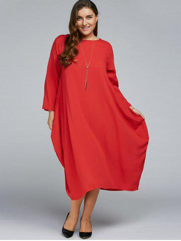 New Plus Size Long Sleeve Midi Dress