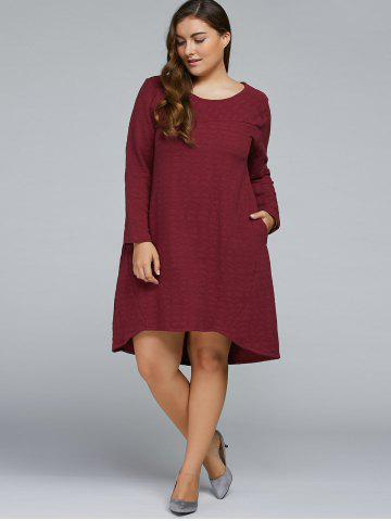 Outfit Plus Size Textured Long Sleeve High Low Dress WINE RED ONE SIZE