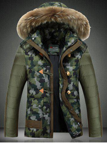 Detachable Furry Hood Camouflage Zip-Up Down Jacket