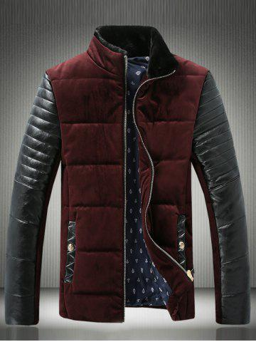 Shops PU-Leather Spliced Velvet Stand Collar Zip-Up Padded Jacket