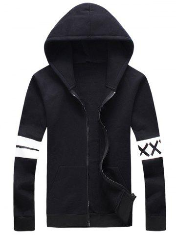 Fashion Plus Size Stripe and Graphic Print Hooded Zip-Up Hoodie