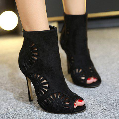 Fancy Stiletto Heel Hollow Out Peep Toe Boots