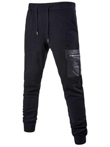 Latest PU Zipper Pocket Drawstring Waist Jogger Pants BLACK 4XL