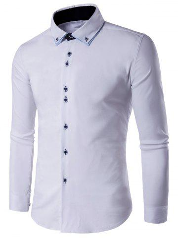 Unique Button Up Long Sleeve Formal Tuxedo Shirt