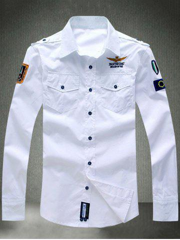 Fashion Turn-Down Collar Embroidered Appliques Long Sleeve Shirt WHITE 4XL