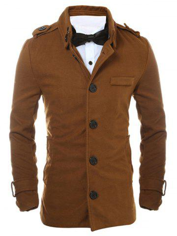 Sale Epaulet Design Button Up Woolen Jacket