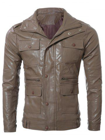 Chic Multi Pocket Zippered Faux Leather Jacket
