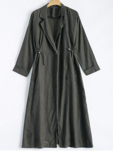 Fashion Lapel Collar Back Slit Maxi Trench Coat