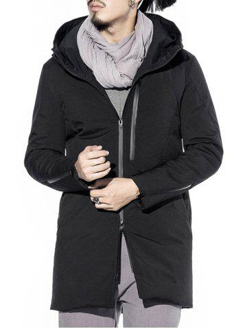 Best Two Way Zipper Hooded Padded Coat - L BLACK Mobile