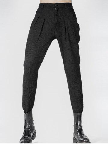 Outfits Narrow Feet Zipper Fly Pleated Texture Pants - 33 BLACK Mobile