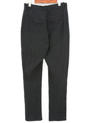 Outfits Narrow Feet Zipper Fly Pleated Texture Pants - 32 BLACK Mobile