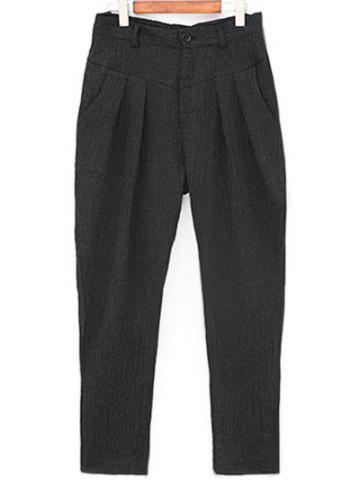 Discount Narrow Feet Zipper Fly Pleated Texture Pants - 32 BLACK Mobile