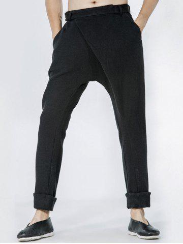 Shops Single Pocket Back Drop Crotch Wrap Pants - 32 BLACK Mobile