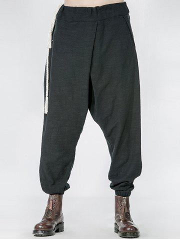 Discount Side Drawstring Drop Crotch Elatic Cuff Harem Pants