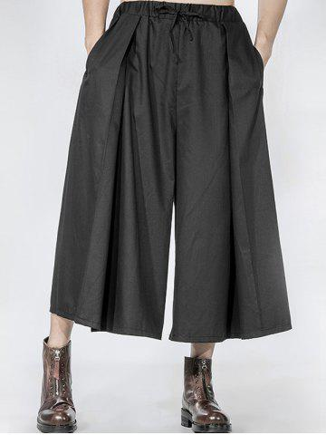 Affordable Drawstring Pleated Front Wide Leg Pants BLACK ONE SIZE