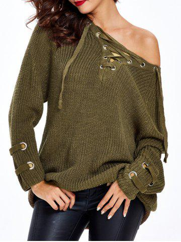 Lace Up Criss-Cross Long Sweater - ARMY GREEN ONE SIZE