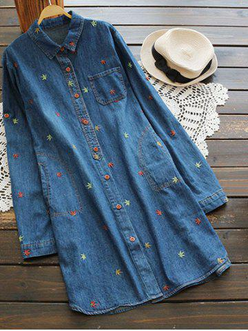 Shops Button Up Longline Embroidered Denim Shirt