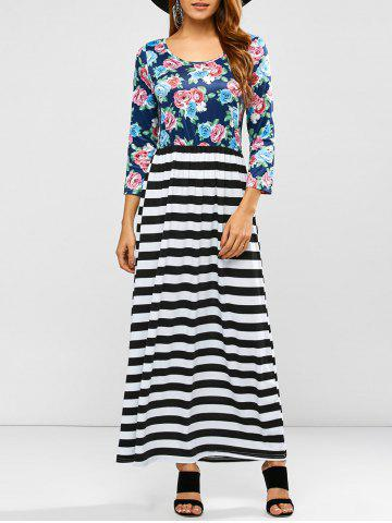 Online Scoop Neck Stripe Floral Print Maxi Dress