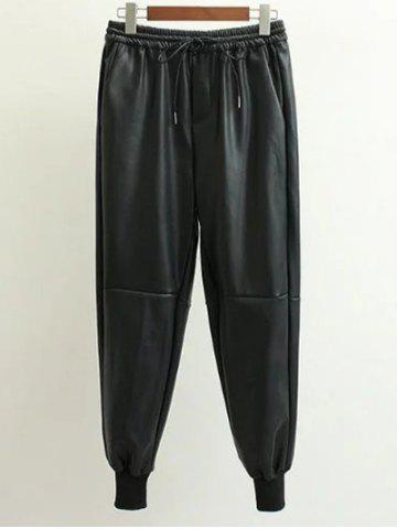 Fancy Drawstring PU Leather Jogger Pants