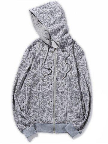 Unique Plus Size Knot Print Hooded Zip-Up Hoodie