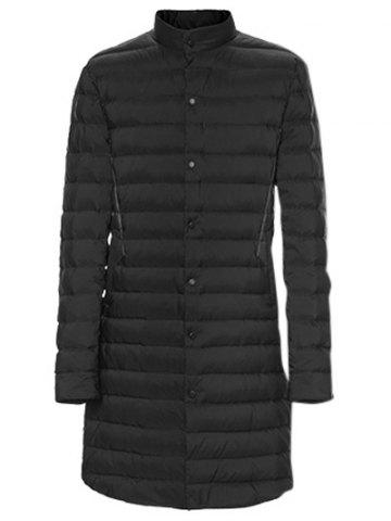 Discount Snap Button Up Paneled Quilted Coat