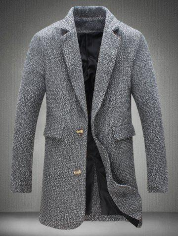 Fashion Lapel Collar Flap Pocket Tweed Heather Coat GRAY 5XL