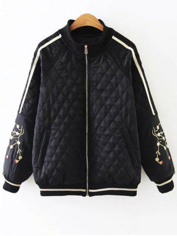 Trendy Argyle Embroidered Quilted Bomber Jacket BLACK 2XL