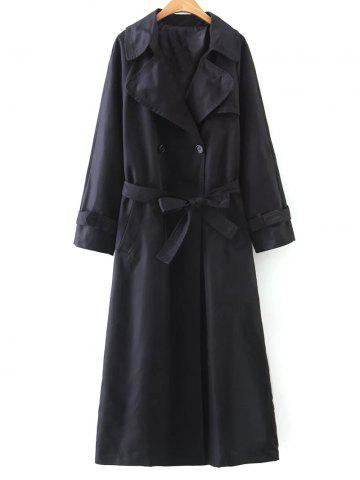Buy Double-Breasted Belted Maxi Trench Coat